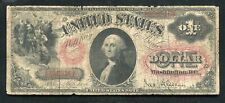 "FR. 27 1878 $1 ONE DOLLAR  ""SMALL RED WITH RAYS"" LEGAL TENDER UNITED STATES NOTE"