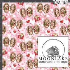 Valentine Loving Hedgehogs Repeat Pattern 100% Quality Cotton Poplin Fabric