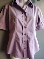 New York & Company Stretch Womens Purple Cotton Blouse Top Short Sleeve - Small