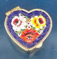 Vintage Gold Tone Heart Shaped Pill Box. Floral Enamel