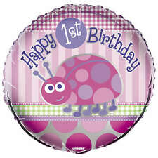 "18"" Pink Ladybug Girl's Happy 1st Birthday Party Round Foil Balloon"