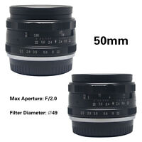 Meike 50mm f2.0 large Aperture Manual Multi Coated Focus lens APS-C for Fujifilm