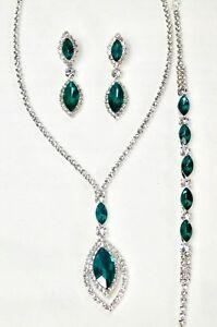 3 Pcs Green Silver Crystal Rhinestone Oval Drop Necklace Earrings Bracelet Set
