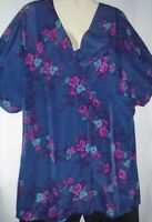 Womens Blouse Top Long Tunic Blue Pink Print Short Sleeves Size XL Lark & Ro