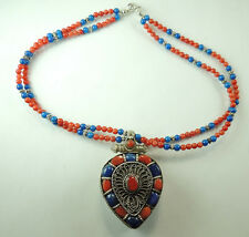 Statement 2 Strand Necklace with Coral & Lapis Gau Box Sterling Silver Jewelry