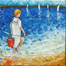 Peinture de CARIN  20 x 20 cm pêche sur l'île d'oléron enfant impressionisme