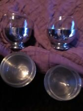 Vintage Set of 4 Chase  USA Juice Glasses in Stainless Steel Bases