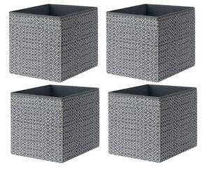 4 x IKEA Drona Grey White Patterned Expedite Kallax Shelving Toys Storage box