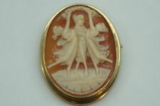 ANTIQUE CAMEO BROOCH PIN 10K GOLD YG ART NOUVEAU LADIES DANCING SHELL PENDANT
