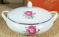 """Imperial Rose Fine China Covered Vegetable Bowl 9""""  Japan 6702 Max Schonfeld"""
