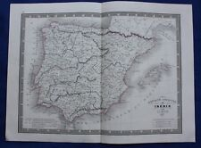 Original Antiguo Mapa Antiguo España, 'Espagne ancienne ou iberie' , Monin, 1837