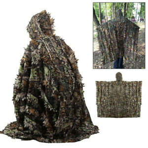 3D Ghillie Suit woodland Tarnanzug Poncho Camouflage Kleidung Jagd  Umhang