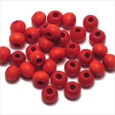 Lot de 100 Perles rondes en bois 6mm Rouge