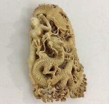 DRAGON NUDE LADY 3 EAGLES HAND CARVED From MOOSE HORN ANTLER With A Lot Details