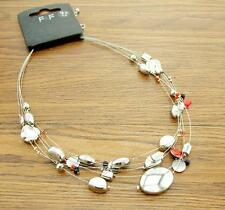 RED/BLACK/SILVER POLISH fashion NECKLACE 5-strand floating BEADS glass/enamel