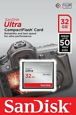 SANDISK 32GB COMPACT FLASH ULTRA SPEED MEMORY CARD FOR CAMERAS