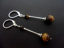 A PAIR OF  TIGERS EYE  SILVER PLATED LEVERBACK HOOK EARRINGS. NEW.