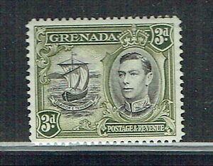 Grenada 1938 3d black & olive-green Perf 12½ mounted mint