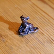 Mouse holding berry, miniature bronze sculpture, ornament, David Meredith