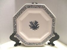 "1776 Independence Ironstone 10.5"" Octagon White Blue Raised Rim Dinner Plate"