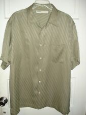 Perry Ellis Mens Casual Shirt 100% Silk Button Green Short Sleeve Size XL