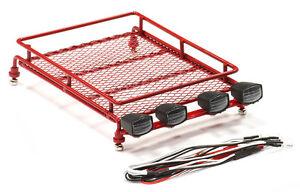 Integy 1/10 Red Metal Luggage Roof Tray 130x100mm SCX10 W/ LED Kit #C24965 OZRC
