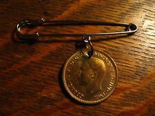 Half Penny Kilt Lapel Pin - Vintage 1942 King George VI England UK Money Coin