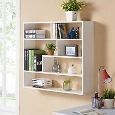 Bookshelf Display Unit Wall Mounted Storage Shelves White Bookcase Home Decor