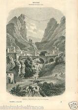 Paysage Moustiers-Sainte-Marie Alpes-de-Haute-Provence GRAVURE OLD PRINT 1858