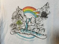 VTG 80s Rainbow GRAPHIC T-SHIRT Hawaiian Surfer Surf Single Stitch Large
