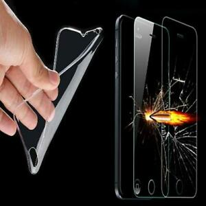 Silicone Skin Case Phone Cover Bumper Clear With Safety Glass Heavy Duty Foil