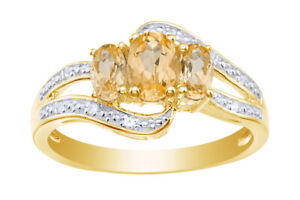 Citrine & Topaz 14k Yellow Gold Over Silver Bypass Ring