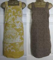 NEW Ladies Next Shift Dress Tunic Pinafore Summer Linen Blend Ochre Animal 6-26