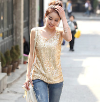 Women Spangle Sequin Sparkle Glitter Tank Top Vest Sleeveless T-Shirt Camisole