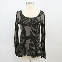 Rundholz Black Label Top T-Shirt Blouse Peplum S Small Gray Scoop Neck Lagenlook