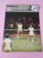Badminton Grandes Compétitions jeune championnat du monde   Fiche Card 1977