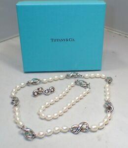Tiffany & Co Pearl Infinity Necklace , Bracelet & Earrings Sterling Silver Set