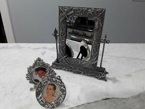 "Swivel Vanity Mirror Shabby Ornate Silver tone 8x8"" w/ 2 Picture frames"
