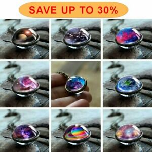 Wholesale Glow in the Dark Galaxy Double Side Glass Planet Necklace Pendant Gift