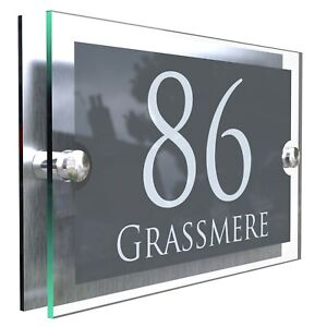 House Number Plaques Glass Effect Acrylic Signs Door Plates Name Wall Display