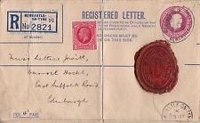 Großbritannien R-Brief 1930 Siegel Ganzsache Newcastle England Stempel Letter