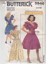 Bridal Bridesmaid Dress 2 Lengths Ruffles Draped Butterick Pattern 5898 Sz 14-16