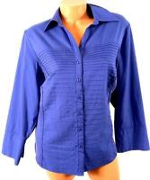 Investments purple pleated 3/4 sleeves spandex stretch buttoned down top 1X