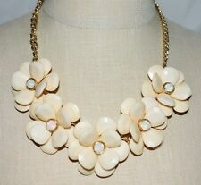 Gold Tone Peach Acrylic Rhinestone Flower Bobble Bib Choker Necklace
