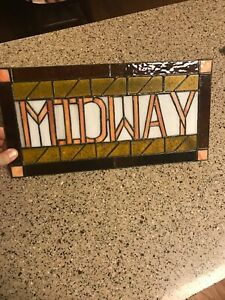 """Stain Glass """"MIDWAY"""" Hanging Window Panel Appearance Brown/Yellow Free Shipping"""