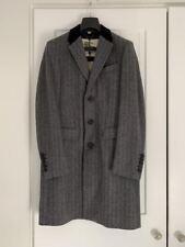 NEW Burberry London men's grey black velvet herringbone wool cashmere coat 38 48