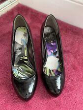 Ladies Black Patent Court Shoes size 8 Wide Fit Next