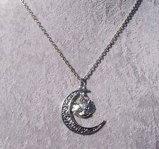 Bewitching Filigree Crescent Moon Tibetan Silver Wolf Pendant Necklace.Handmade.