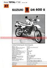SUZUKI DR 600 S DR600 1985 Fiche Technique Moto 000349