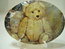 """Teddy Bear Plaque Home Decor 4 1/2""""X6"""" Old Fashioned Homemade Look with Easle"""